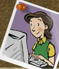 Cartoon of Susie Lloyd writing at computer