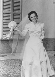 St. Gianna Molla, happy, in her wedding dress