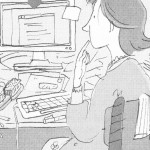 Cartoon of Susie at desk buried in clutter.