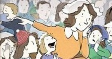 Cartoon woman with unruly kids in church
