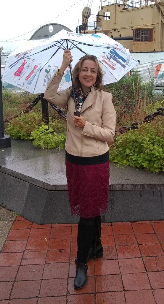 Susie Lloyd with umbrella