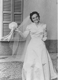 St. Gianna Molla, happy, in her wedding dress