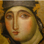 Ancient icon of Mary, the ultimate female Catholic saint.
