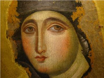 Ancient icon of Mary, the ultimate female Catholic saint.